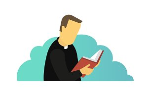 Priest reading Holy Bible book. Man