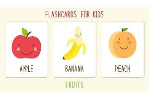 Set of cute fruits kids education