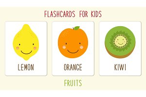 Set of cute fruits kids education