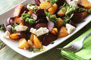 Fresh beet salad with feta cheese an