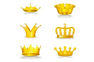 Golden crowns vector icons