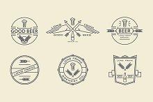 Vector line beer labels.