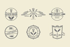 Vector line beer labels.