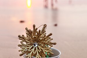 Golden Snowflake At The Beach