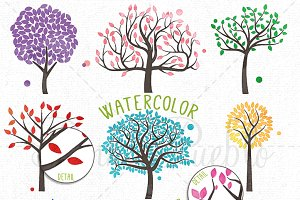 Watercolor Trees Clipart and Vectors