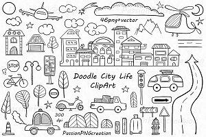 Doodle City Life ClipArt