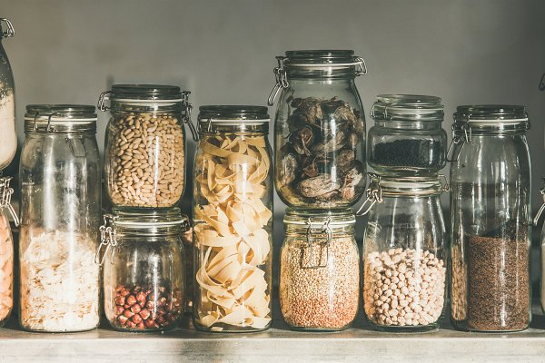 Food Stock Photos - Rustic kitchen food storage