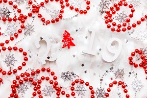 Christmas and New Year 2019 red