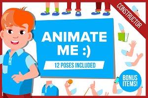 Boy Cheerful Pupil Animation Kit