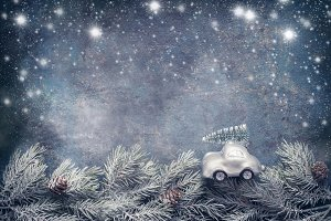 Christmas tree on toy car rides