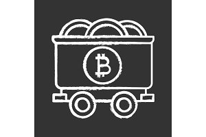 Bitcoin mining business chalk icon