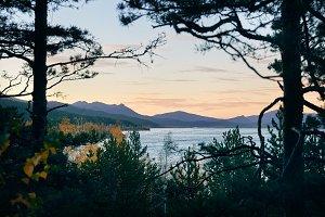 Sunset at beautiful lake