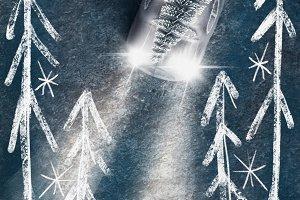 Christmas tree on car with headlight