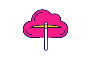Cryptocurrency cloud mining icon