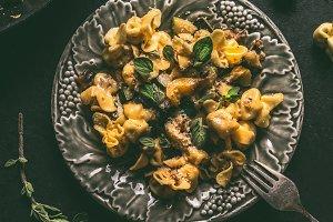 Tortellini with creamy sauce