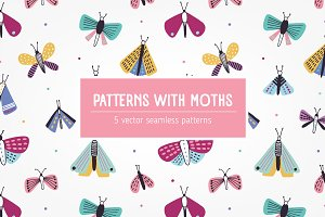 Colorful patterns with moths