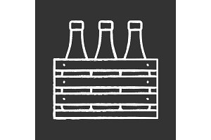 Beer case chalk icon