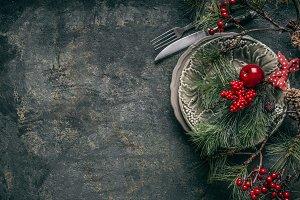 Christmas dinner table background