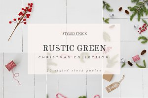 Rustic Green Christmas Stock Photos
