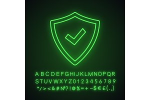Security approved neon light icon