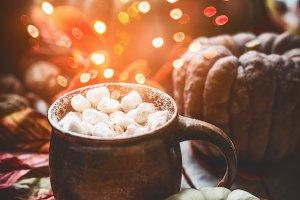 Autumn still life with hot chocolate