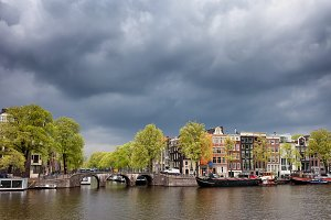 City Skyline of Amsterdam in Holland
