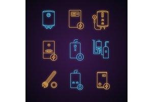 Heating neon light icons set
