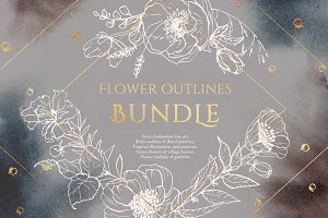 BUNDLE! Flower outlines and patterns