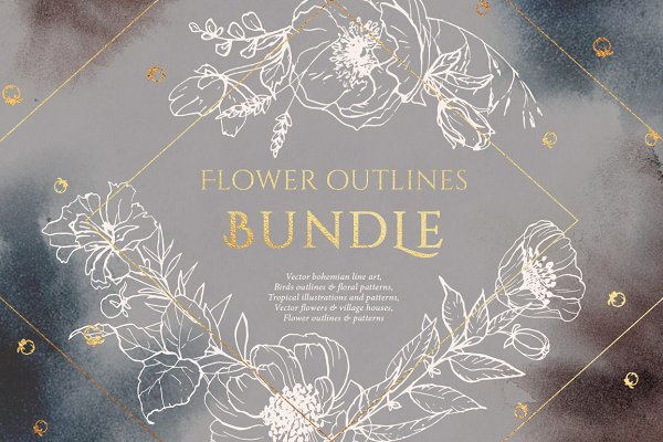 BUNDLE! Flower outlines and pattern…