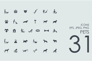 31 domestic animals icons