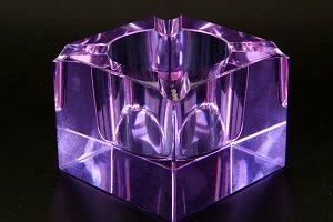 Glass ashtray blown of Murano amethy