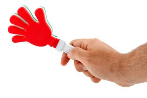 Toy in the shape of hand to make noi