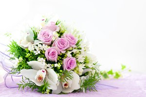 Wedding Pink Roses And White Orchid