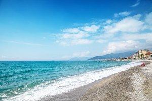 Pebble beach and blue sky on