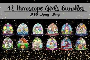 12 Horoscope Girls Bundles