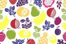 Vegetables and fruits seamless backs