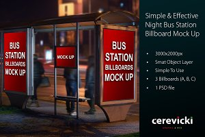 Bus Station Night Billboards Mock Up