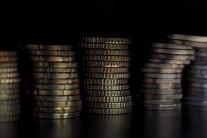 Euro coins pile, European Union back