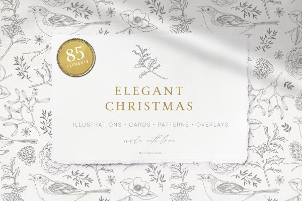 Illustrations and Illustration Products: Tabita's shop - Elegant Christmas collection