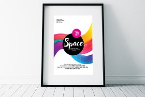 Colorful Space Flyer Templates