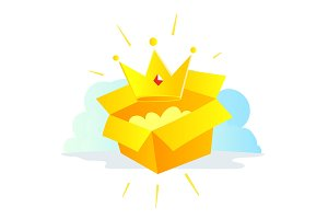 Gold Crown icon by mail in the