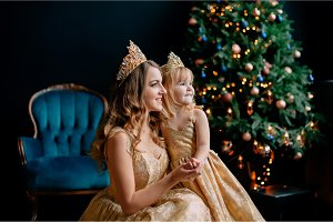 mother and daughter in luxurious