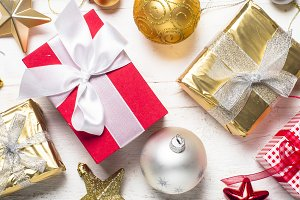 Red, Gold and silver present box and