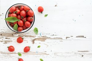 Cherry tomatoes in metal bowl