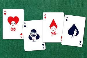 Aces of cards with a woman's face