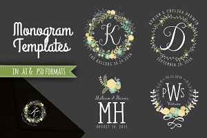 Floral Wreath Monograms AI & PSD
