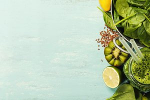 Healthy green smoothie and ingredien