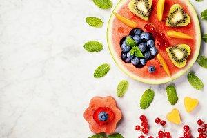 Summer fruit concept. Watermelon, fr