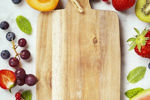 Old cutting board, Watermelon, fruit
