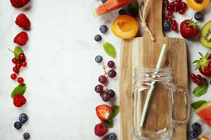 Healthy smoothies with fresh ingredi